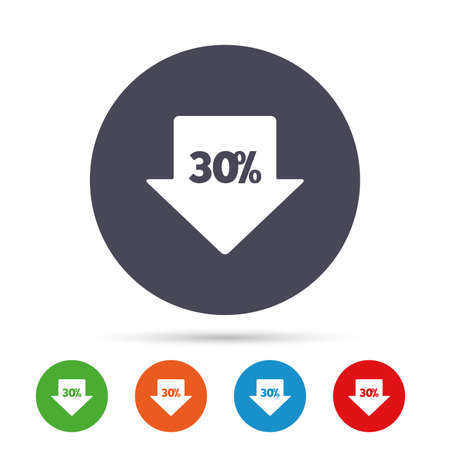 thirty percent off: 30% sale arrow tag sign icon. Discount symbol. Special offer label. Round colourful buttons with flat icons. Vector