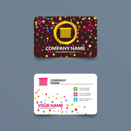 Business card template with confetti pieces. Louvers sign icon. Window blinds or jalousie symbol. Phone, web and location icons. Visiting card  Vector