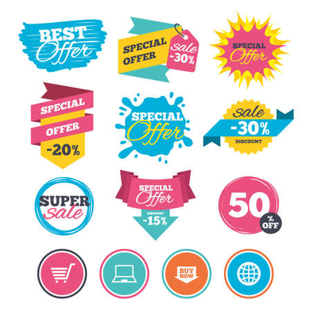 Sale banners, online web shopping. Online shopping icons. Notebook pc, shopping cart, buy now arrow and internet signs. WWW globe symbol. Website badges. Best offer. Vector Illustration