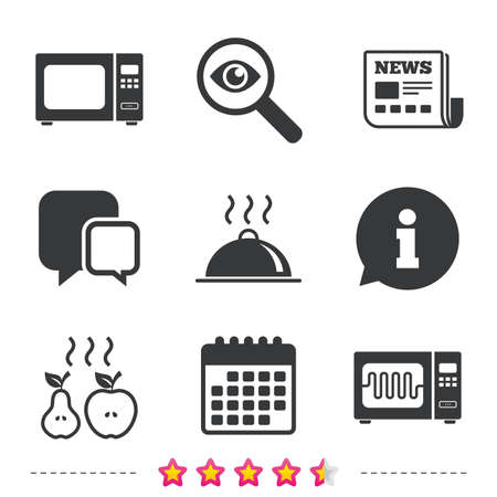 Microwave grill oven icons. Cooking apple and pear signs. Food platter serving symbol. Newspaper, information and calendar icons. Investigate magnifier, chat symbol. Vector Ilustração
