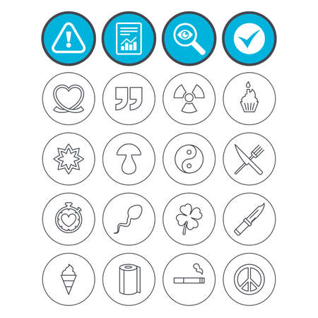 Report, check tick and attention signs. Universal icons. Quotes, ribbon heart and cake. Clover, mushroom and ice cream. Smoking, knife and fork. Investigate magnifier symbol. Flat buttons. Vector