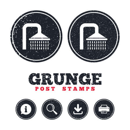 Grunge post stamps. Shower sign icon. Douche with water drops symbol. Information, download and printer signs. Aged texture web buttons. Vector. Illustration