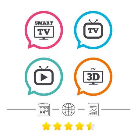 스마트 3D TV 모드 아이콘. 와이드 스크린 기호. 레트로 텔레비전 및 TV 테이블 표지판입니다. 달력, 인터넷 글로시 및 보고서 선형 아이콘. 스타 투표 순 일러스트