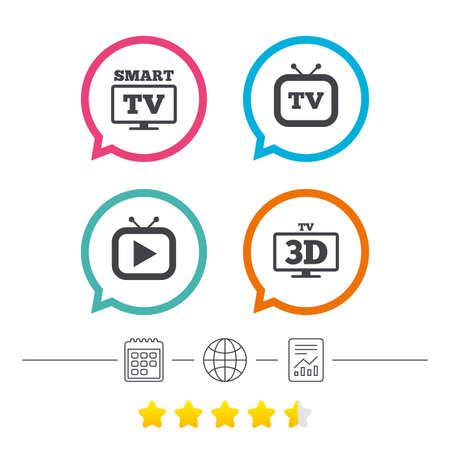 Smart 3D TV mode icon. Widescreen symbol. Retro television and TV table signs. Calendar, internet globe and report linear icons. Star vote ranking. Vector.