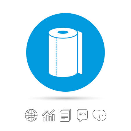 Paper towel sign icon. Kitchen roll symbol. Copy files, chat speech bubble and chart web icons. Vector. Illustration