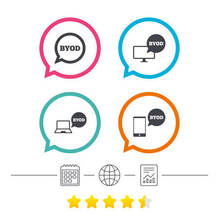 BYOD icons. Notebook and smartphone signs. Speech bubble symbol. Calendar, internet globe and report linear icons. Star vote ranking. Vector