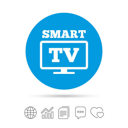 Widescreen Smart TV sign icon. Television set symbol. Copy files, chat speech bubble and chart web icons. Vector.