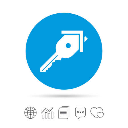 Key from the house sign icon. Unlock tool symbol. Copy files, chat speech bubble and chart web icons. Vector.
