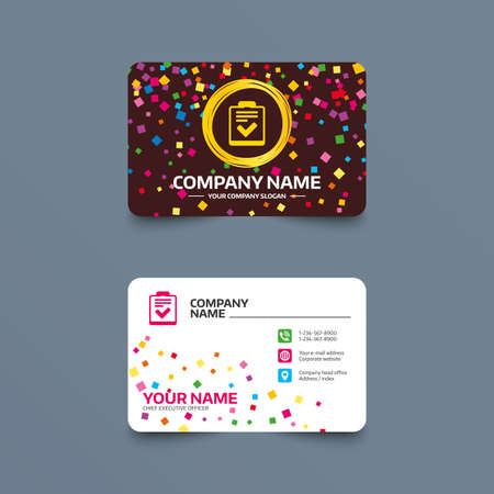 Business card template with confetti pieces. Checklist sign icon. Control list symbol. Survey poll or questionnaire feedback form. Phone, web and location icons. Visiting card  Vector. Çizim