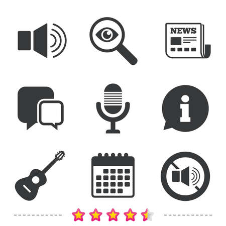 investigating: Musical elements icons. Microphone and Sound speaker symbols. No Sound and acoustic guitar signs. Newspaper, information and calendar icons. Investigate magnifier, chat symbol. Vector.