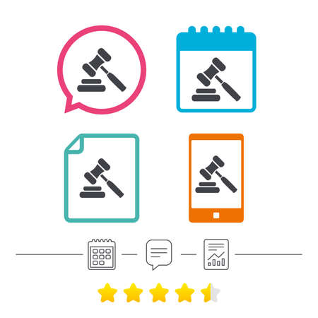 Auction hammer icon. Law judge gavel symbol. Calendar, chat speech bubble and report linear icons. Star vote ranking. Vector.