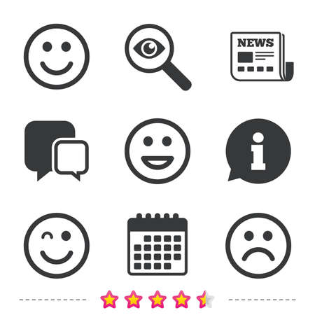 investigating: Smile icons. Happy, sad and wink faces symbol. Laughing lol smiley signs. Newspaper, information and calendar icons. Investigate magnifier, chat symbol. Vector Illustration