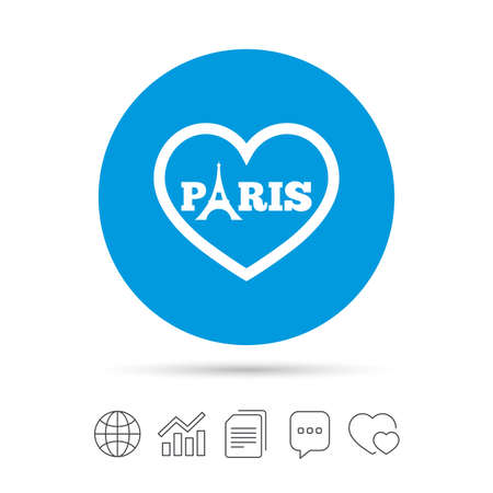 Eiffel tower icon. Paris symbol. Heart sign. Copy files, chat speech bubble and chart web icons. Vector Ilustracja