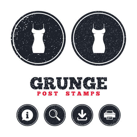 Grunge post stamps. Women dress sign icon. Intimates and sleeps symbol. Information, download and printer signs. Aged texture web buttons. Vector