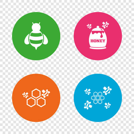 Honey icon. Honeycomb cells with bees symbol. Sweet natural food signs. Round buttons on transparent background. Vector