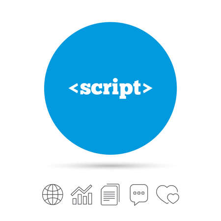 Script sign icon. Javascript code symbol. Copy files, chat speech bubble and chart web icons. Vector
