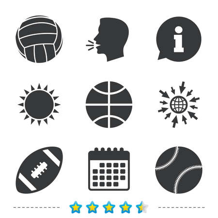 Sport balls icons. Volleyball, Basketball, Baseball and American football signs. Team sport games. Information, go to web and calendar icons. Sun and loud speak symbol. Vector