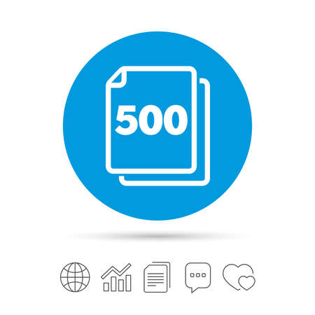 In pack 500 sheets sign icon. 500 papers symbol. Copy files, chat speech bubble and chart web icons. Vector