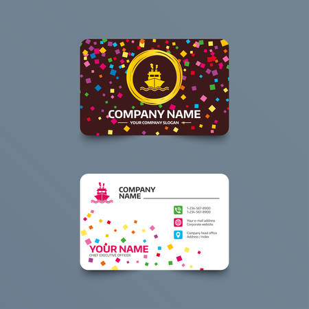 Business card template with confetti pieces. Ship or boat sign icon. Shipping delivery symbol. Smoke from chimneys or pipes. Phone, web and location icons. Visiting card  Vector