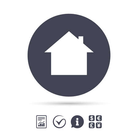 Home sign icon. Main page button. Navigation symbol. Report document, information and check tick icons. Currency exchange. Vector.