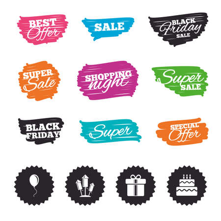 Ink brush sale banners and stripes. Birthday party icons. Cake and gift box signs. Air balloons and fireworks rockets symbol. Special offer. Ink stroke. Vector