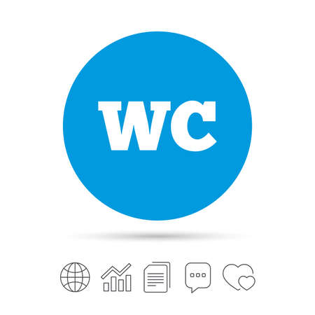 WC Toilet sign icon. Restroom or lavatory symbol. Copy files, chat speech bubble and chart web icons. Vector Illustration