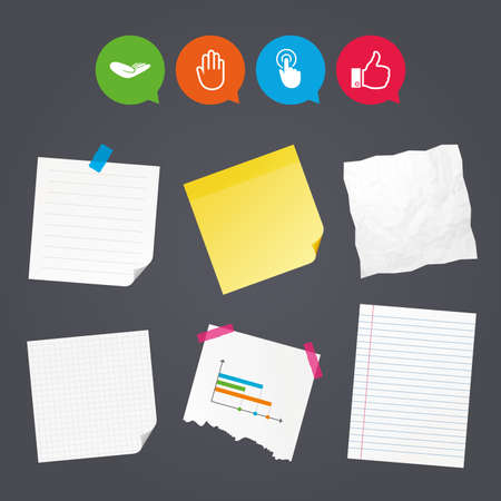 Business paper banners with notes. Hand icons. Like thumb up symbol. Click here press sign. Helping donation hand. Sticky colorful tape. Speech bubbles with icons. Vector.