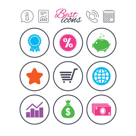 Information, report and calendar signs. Online shopping, e-commerce and business icons. Piggy bank, award and star signs. Cash money, discount and statistics symbols. Phone call symbol. Vector Illustration