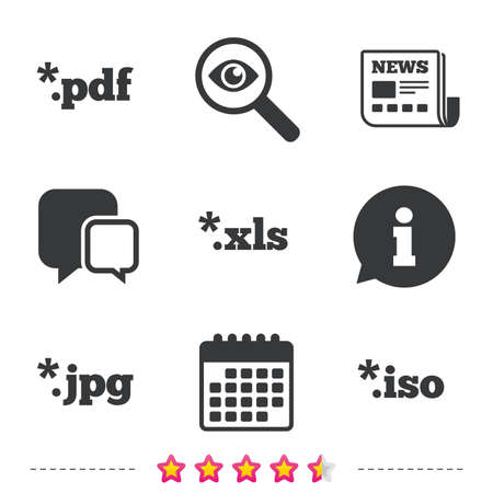 Document icons. File extensions symbols. PDF, XLS, JPG and ISO virtual drive signs. Newspaper, information and calendar icons. Investigate magnifier, chat symbol. Vector.