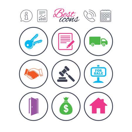 Informatie-, rapport- en kalenderborden. Onroerend goed, veilingpictogrammen. Handdruk, te koop en geld tas tekenen. Sleutels, bestelwagens en deursymbolen. Telefoongesprek symbool. Klassieke eenvoudige platte web iconen.