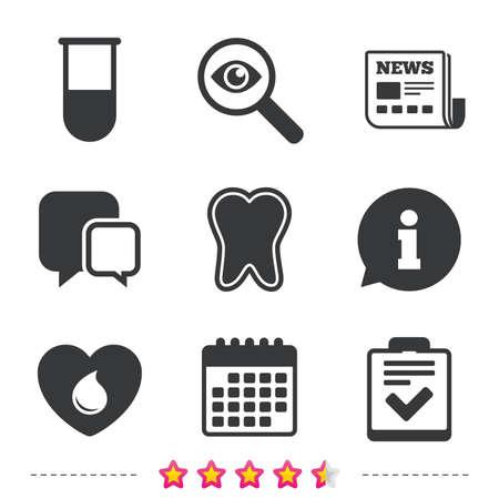 Medizinische symbole. Zahn, Reagenzglas, Blutspende und Checklistenzeichen. Symbol für Laborausstattung. Zahnpflege. Zeitungs-, Informations- und Kalendersymbole. Untersuchen Sie die Lupe, das Chat-Symbol. Vektor. Standard-Bild - 80345589
