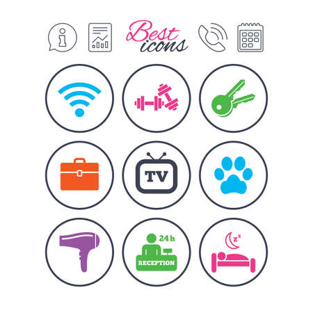 Information, report and calendar signs. Hotel, apartment service icons. Wi-fi internet. Reception, pets allowed and hairdryer symbols. Phone call symbol. Classic simple flat web icons. Vector Illustration
