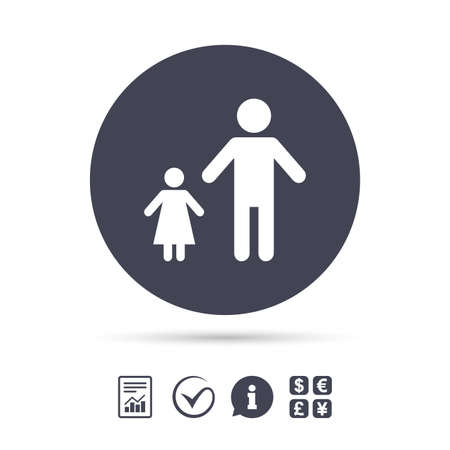 One-parent family with one child sign icon. Father with daughter symbol. Report document, information and check tick icons. Currency exchange. Vector
