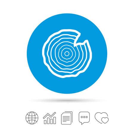 Holz Zeichen Symbol. Baumwachstum Ringe. Baumstammquerschnitt mit Einschnitt. Kopieren Sie Dateien, Chat Sprechblase und Diagramm Web-Icons. Vektor Standard-Bild - 80345593