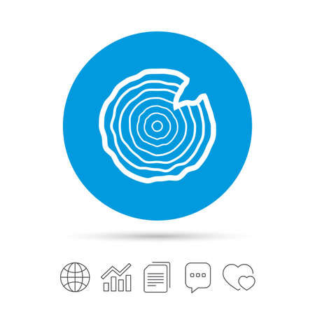 Wood sign icon. Tree growth rings. Tree trunk cross-section with nick. Copy files, chat speech bubble and chart web icons. Vector 向量圖像
