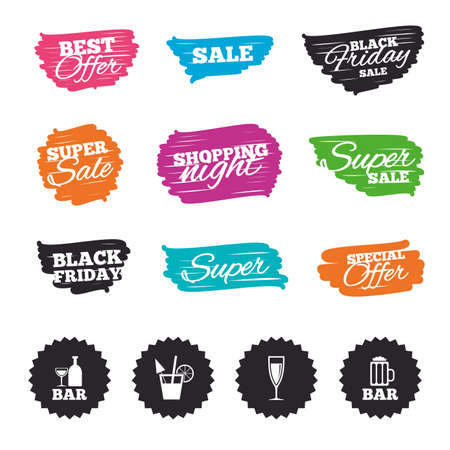 Ink brush sale banners and stripes. Bar or Pub icons. Glass of beer and champagne signs. Alcohol drinks and cocktail symbols. Special offer. Ink stroke. Vector