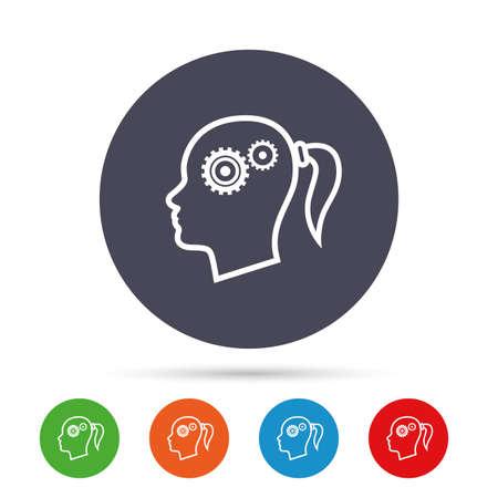 歯車記号アイコンで頭します。女性の人間の頭では、シンボルだと思います。フラット アイコンと丸いカラフルなボタン。ベクトル