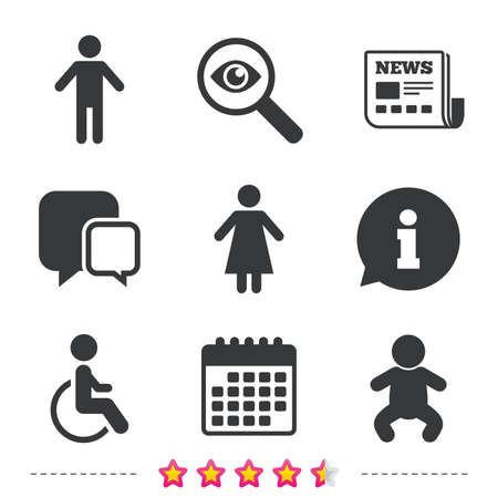 WC toilet icons. Human male or female signs. Baby infant or toddler. Disabled handicapped invalid symbol. Newspaper, information and calendar icons. Investigate magnifier, chat symbol. Vector Фото со стока - 80345600