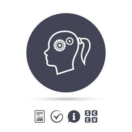 歯車記号アイコンで頭します。女性の人間の頭では、シンボルだと思います。ドキュメント、情報をレポートし、目盛りのアイコンをチェックしま