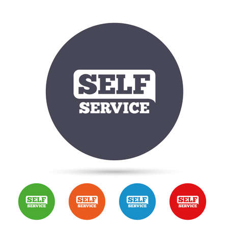 Self service sign icon. Maintenance button. Round colourful buttons with flat icons. Vector