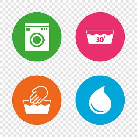 Hand waschen Symbol. Maschinenwaschbar bei 30 Grad Symbolen. Wäschewaschhaus und Wassertropfen Zeichen. Runde Tasten auf transparentem Hintergrund. Vektor