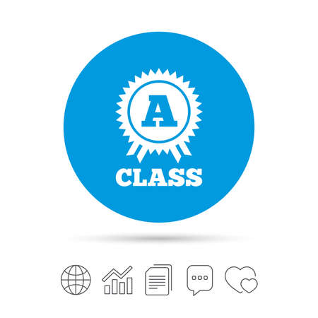 A-class award icon. Premium level symbol. Energy efficiency sign. Copy files, chat speech bubble and chart web icons. Vector