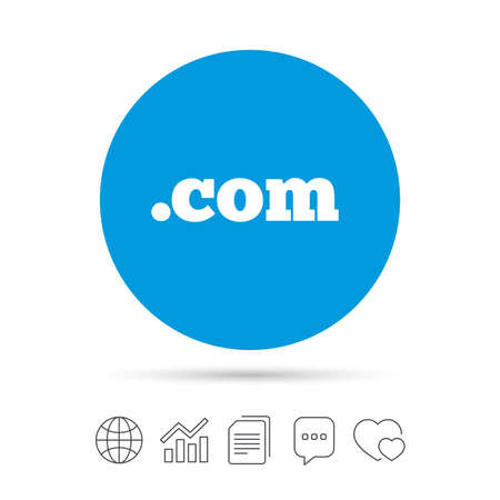 ドメイン COM 記号アイコン。最上位のインターネット ドメインのシンボル。ファイルのコピー、音声バブルとグラフ web アイコンをチャットします。