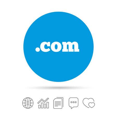 도메인 COM 기호 아이콘입니다. 최상위 인터넷 도메인 기호입니다. 파일 복사, 연설 거품 채팅 및 차트 웹 아이콘. 벡터