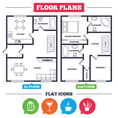 Architecture plan with furniture. House floor plan. Drinks icons. Coffee cup and glass of beer symbols. Wine glass and cocktail signs. Kitchen, lounge and bathroom. Vector Ilustracja