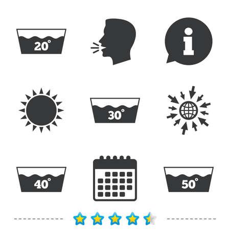 아이콘을 씻으십시오. 20, 30, 40 및 50도 기호로 빨 수있는 기계. 세탁 워시 하우스 표지판. 정보, 웹 및 캘린더 아이콘으로 이동하십시오. 태양과 시끄러