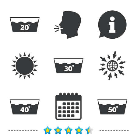 Wash icons. Machine washable at 20, 30, 40 and 50 degrees symbols. Laundry washhouse signs. Information, go to web and calendar icons. Sun and loud speak symbol. Vector