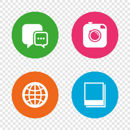Social media icons. Chat speech bubble and world globe symbols. Hipster photo camera sign. Photo frames. Round buttons on transparent background. Vector Imagens - 80344809