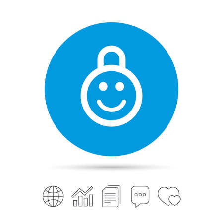 lock block: Child lock icon. Locker with smile symbol. Child protection. Copy files, chat speech bubble and chart web icons. Vector