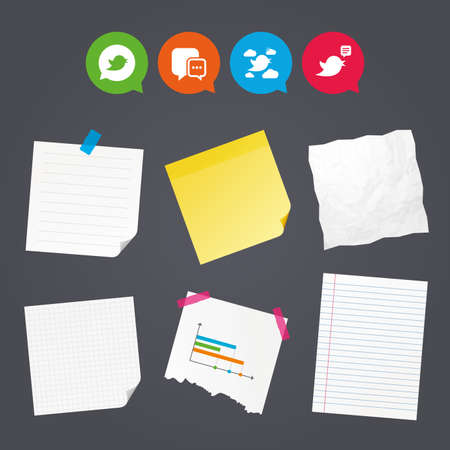 ビジネス ノートと紙バナー。鳥アイコン。ソーシャル メディアの吹き出し。短いメッセージ チャット記号です。カラフルなテープ。吹き出しアイ